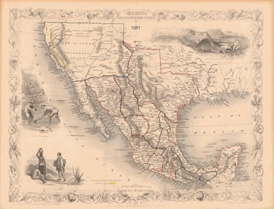 Texas Map with California 1851