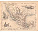 Old Texas Map with California 1851