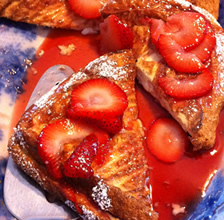 Cream cheese stuff French toast with strawberries