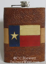Texas Flag Flask, Leather