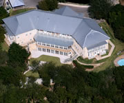Aerial view of 14 bedroom luxury B&B in Gruene, TX