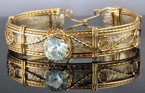 Lariat Bracelet with Blue Topaz