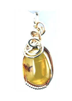 Amber & Insects Pendant