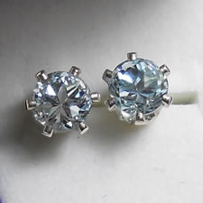 Blue Topaz Earrings, Star Cut