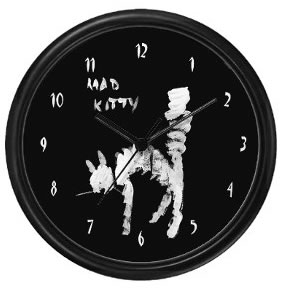 Mad Kitty Wall Clock