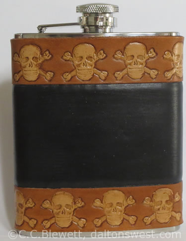 Leather Flask Skull & Crossbones