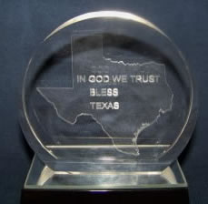 God Bless Texas Crystal Paperweight