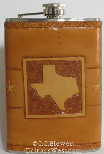 Leather Flask Texas Shape